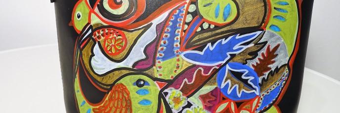 Tasche VögelAcryl auf Kunstleder