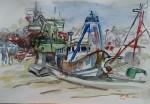 Hafen der FischerAquarell auf PapierGröße: 36x54